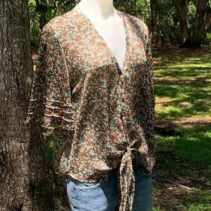 Pansy flowered blouse by; Blu Moon